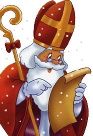 Святой Николай читает список кому дарить подарки, а кому палки