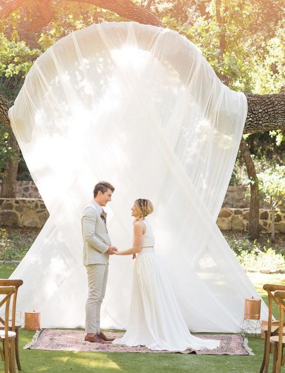 свадебная арка из ткани